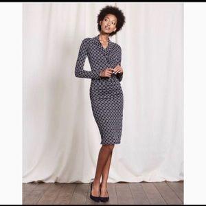 Boden Faux Wrap Dress Ruched sides Blue 12 R